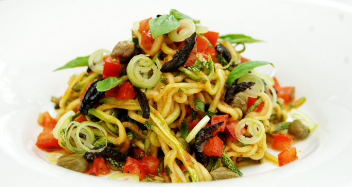 Zucchini Pasta Salad with sun dried tomato pesto, black olives, capers and basil